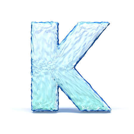 Ice crystal font letter K 3D render illustration isolated on white background