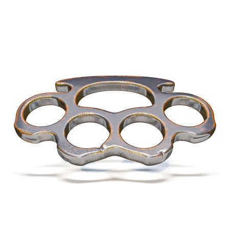 Brass knuckles 3D render illustration isolated on white background Reklamní fotografie
