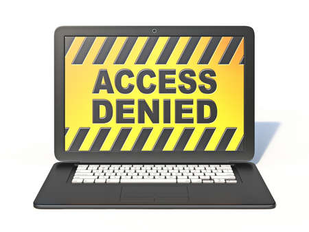 Black laptop with ACCESS DENIED sign on screen 3D rendering isolated on white background