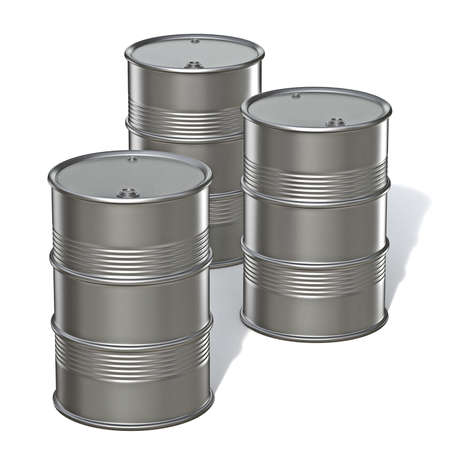 Three metal barrels 3D render illustration isolated on white background