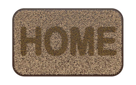 Brown coir doormat with text HOME 3D rendering illustration isolated on white background