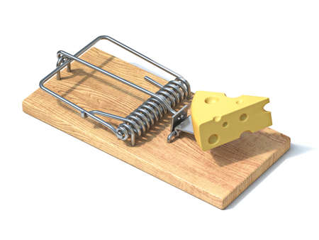Mouse trap with cheese 3D rendering illustration isolated on white background Stok Fotoğraf