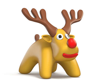 Cartoon reindeer 3D rendering illustration isolated on white background