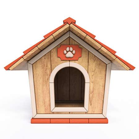 Maison de chien en bois Vue de face illustration de rendu 3D isolé sur fond blanc Banque d'images