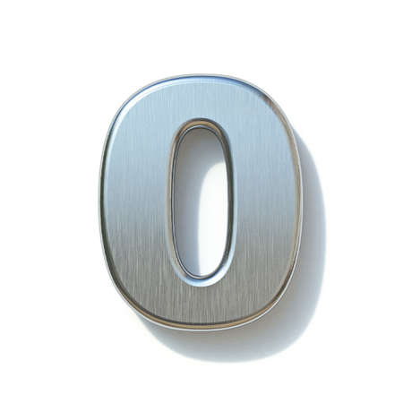 Brushed metal font Number 0 ZERO 3D render illustration isolated on white background Reklamní fotografie