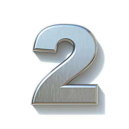 Brushed metal font Number 2 TWO 3D render illustration isolated on white background
