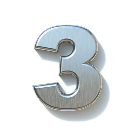 Brushed metal font Number 3 THREE 3D render illustration isolated on white background