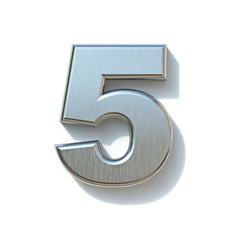Brushed metal font Number 5 FIVE 3D render illustration isolated on white background Reklamní fotografie