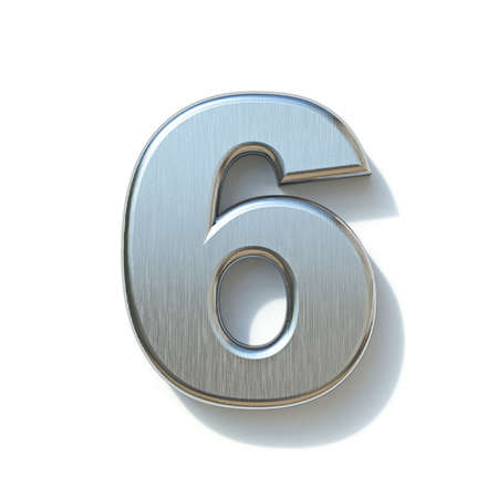 Brushed metal font Number 6 SIX 3D render illustration isolated on white background Reklamní fotografie