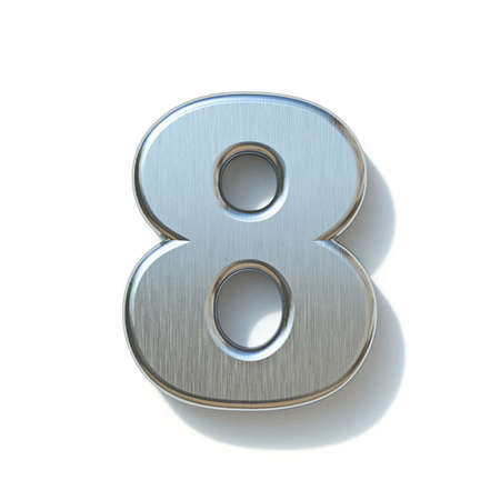 Brushed metal font Number 8 EIGHT 3D render illustration isolated on white background