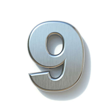 Brushed metal font Number 9 NINE 3D render illustration isolated on white background