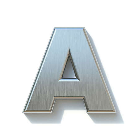 Brushed metal font Letter A 3D render illustration isolated on white background Reklamní fotografie