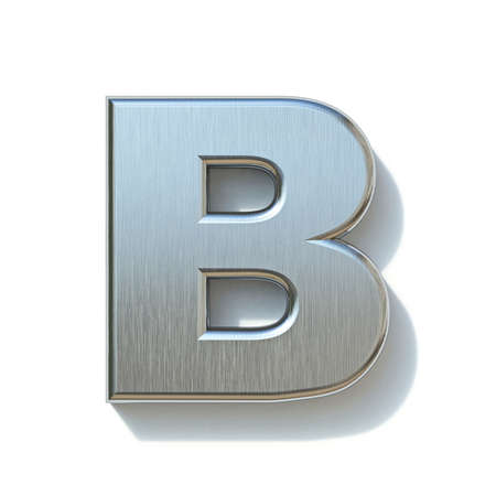 Brushed metal font Letter B 3D render illustration isolated on white background Reklamní fotografie