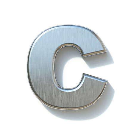 Brushed metal font Letter C 3D render illustration isolated on white background