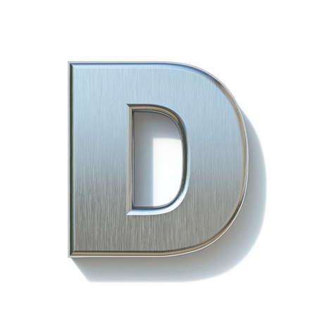 Brushed metal font Letter D 3D render illustration isolated on white background