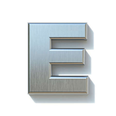Brushed metal font Letter E 3D render illustration isolated on white background Reklamní fotografie