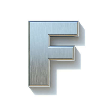 Brushed metal font Letter F 3D render illustration isolated on white background Reklamní fotografie