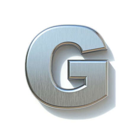 Brushed metal font Letter G 3D render illustration isolated on white background Reklamní fotografie