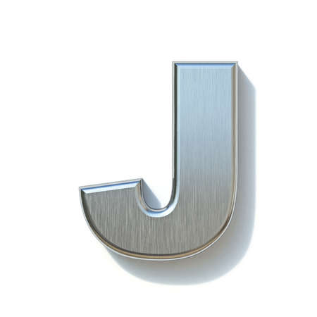 Brushed metal font Letter J 3D render illustration isolated on white background