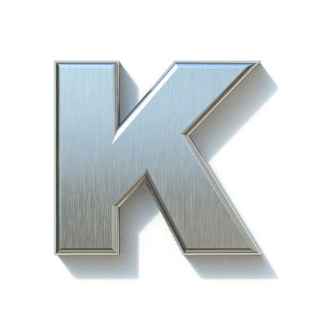 Brushed metal font Letter K 3D render illustration isolated on white background