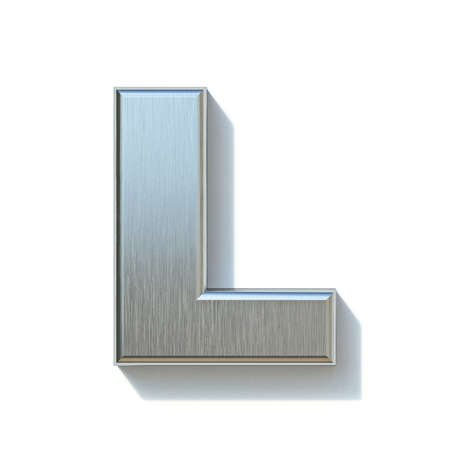 Brushed metal font Letter L 3D render illustration isolated on white background