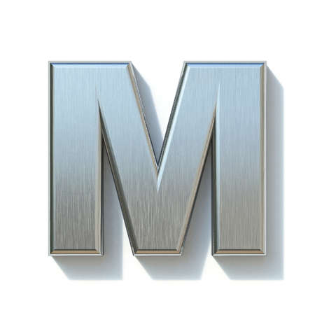 Brushed metal font Letter M 3D render illustration isolated on white background