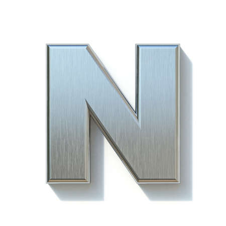 Brushed metal font Letter N 3D render illustration isolated on white background