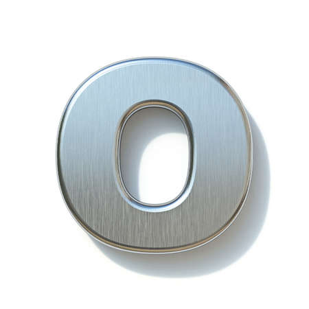 Brushed metal font Letter O 3D render illustration isolated on white background