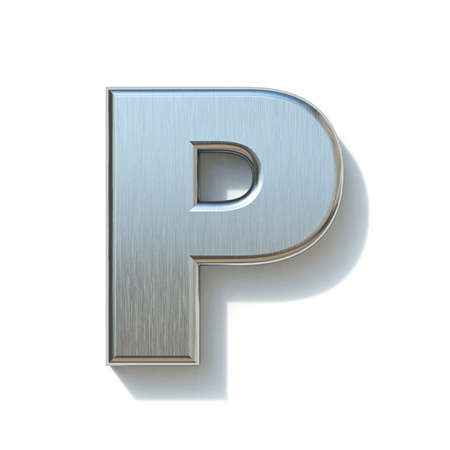 Brushed metal font Letter P 3D render illustration isolated on white background Reklamní fotografie