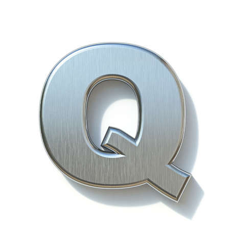 Brushed metal font Letter Q 3D render illustration isolated on white background