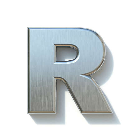 Brushed metal font Letter R 3D render illustration isolated on white background