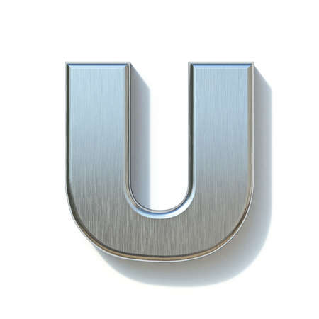 Brushed metal font Letter U 3D render illustration isolated on white background