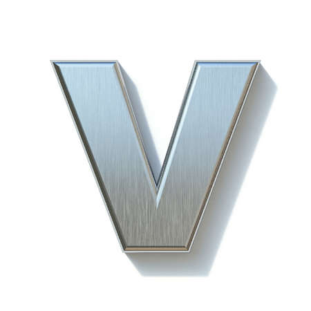 Brushed metal font Letter V 3D render illustration isolated on white background