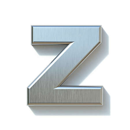 Brushed metal font Letter Z 3D render illustration isolated on white background