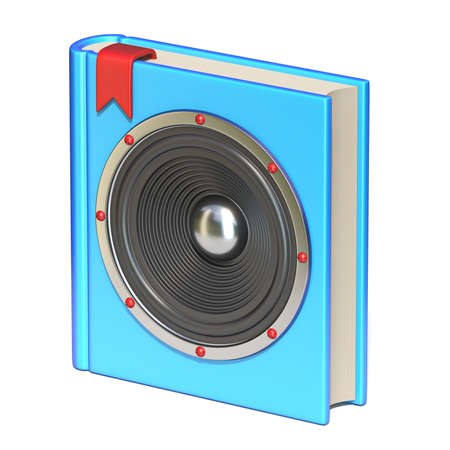 Blue book with speaker Audio book concept 3D rendering illustration isolated on white background