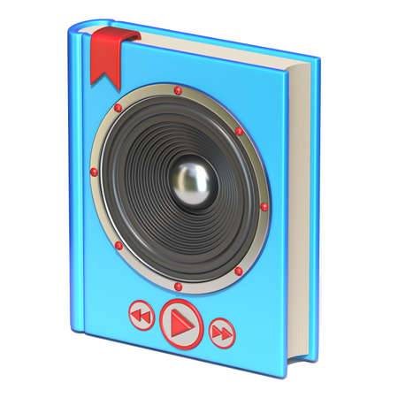 Blue book with speaker and buttons Audio book concept 3D rendering illustration isolated on white background