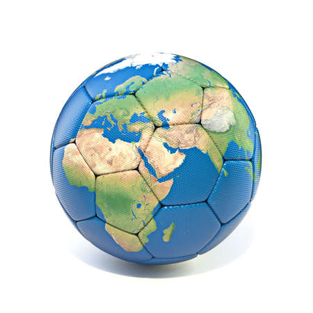 Earth soccer ball 3D rendering illustration isolated on white background Reklamní fotografie