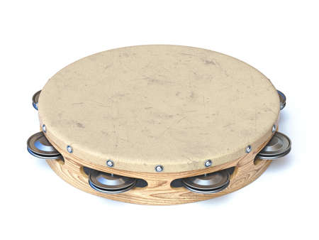 Wooden tambourine 3D rendering illustration isolated on white background