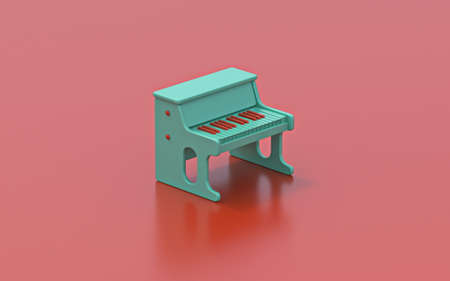 Tiny green piano toy 3D rendering illustration on red background