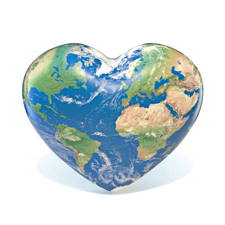 Earth globe heart shaped 3D rendering illustration isolated on white background