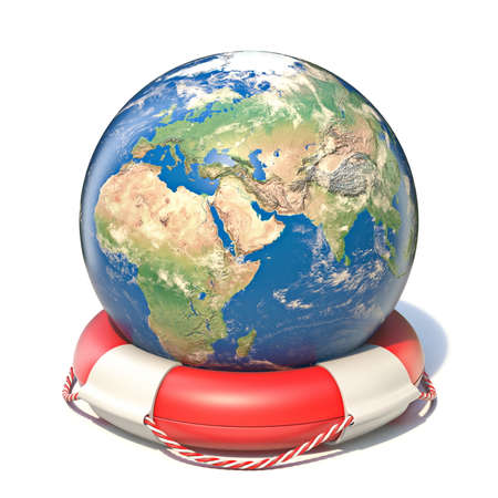 Earth globe in lifebuoy 3D rendering illustration isolated on white background