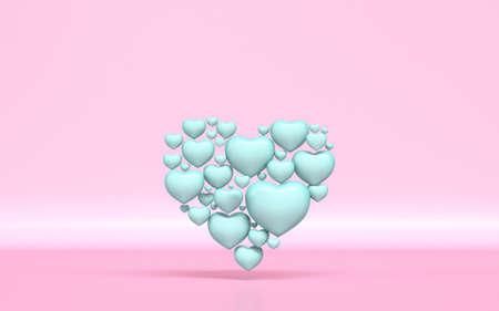 Green heart shape made of small hearts 3D rendering illustration on pink background