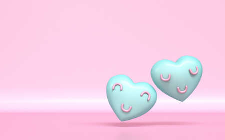 Two hearts with smile faces 3D rendering illustration on pink background