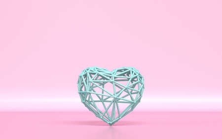 Lattice green heart 3D rendering illustration on pink background