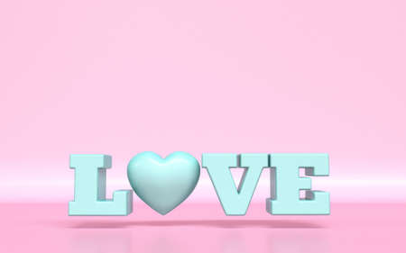 Text LOVE with heart shape 3D rendering illustration on pink background