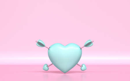Pastel green heart with two Cupids arrows 3D rendering illustration on pink background