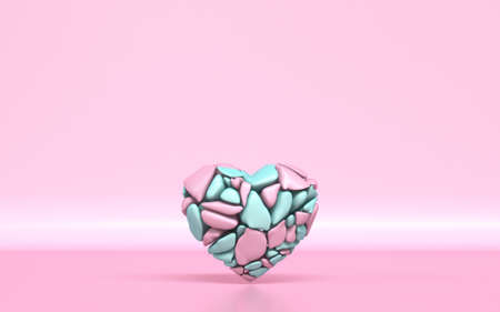 Broken heart made of pink and green pieces 3D rendering illustration on pink background Reklamní fotografie