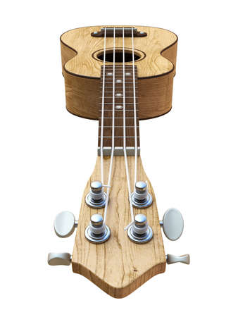 Wooden traditional soprano ukulele Left view 3D render illustration isolated on white background Reklamní fotografie
