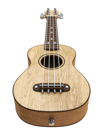 Wooden traditional soprano ukulele Right view 3D render illustration isolated on white background