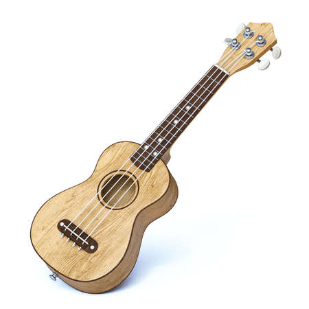 Wooden traditional soprano ukulele 3D render illustration isolated on white background